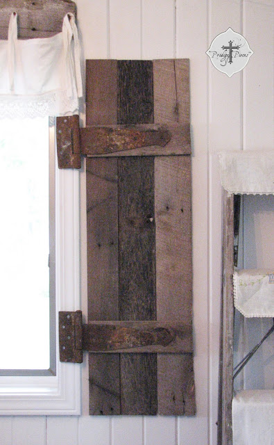 DIY Reclaimed Pallet Wood Shutters via http://www.prodigalpieces.com