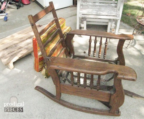 Broken down antique Morris Rocker and salvaged hardwood pallets have potential - do you see it? by Prodigal Pieces www.prodigalpieces.com #prodigalpieces