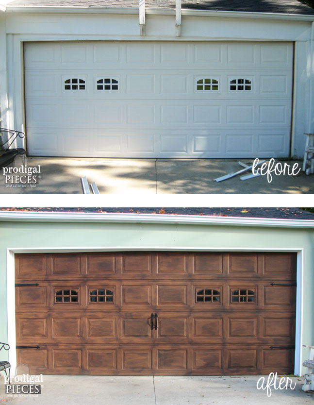 Faux wood garage door tutorial prodigal pieces for Faux painted garage doors