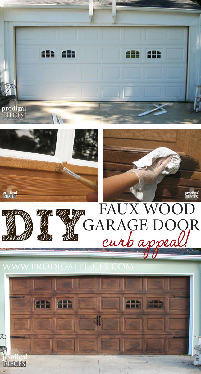 Faux wood garage door tutorial prodigal pieces for How to paint faux wood garage doors