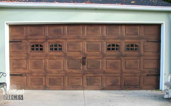 Faux wood garage door tutorial prodigal pieces - Making a steel door look like wood ...