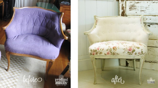 Outdated Vintage Chair Gets Shabby Chic Linen Makeover by Prodigal Pieces www.prodigalpieces.com #prodigalpieces