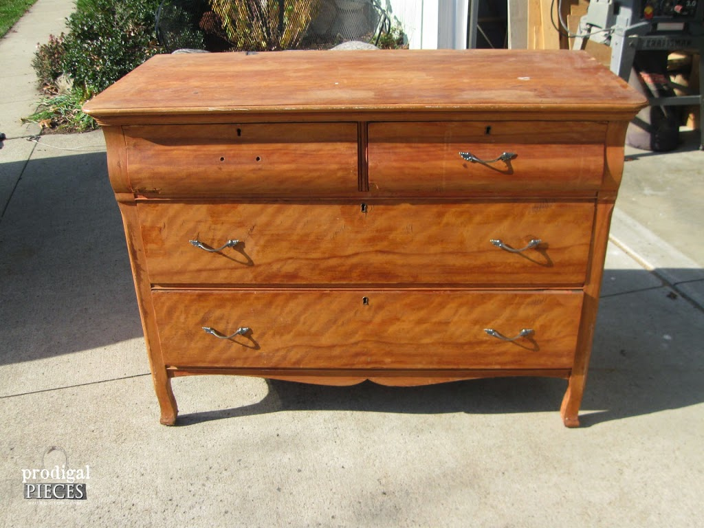 Themed Furniture Makeover Day ~ Rustic Red Farmhouse Cottage Chic Dresser  By Prodigal Pieces Www.