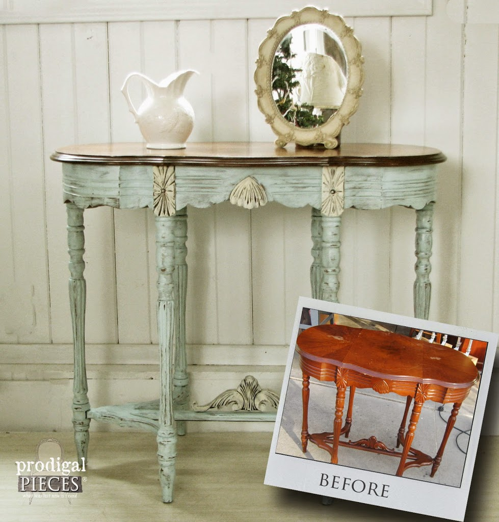 Antique Vintage Side Entry Table Gets an Aqua Blue Facelift by Prodigal Pieces | prodigalpieces.com