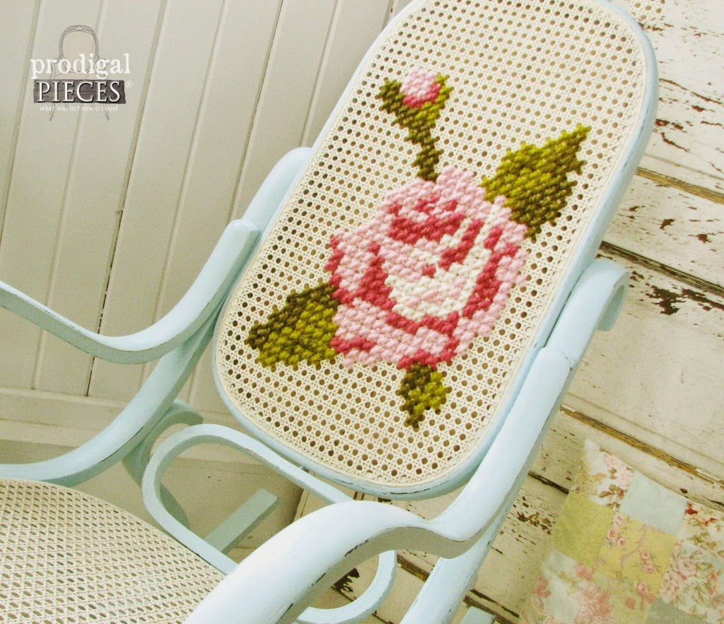 Shabby chic painted rocking chairs - 2014 A Year In Review By Prodigal Pieces Featuring A Bentwood Rocker Makeover With Embroidery