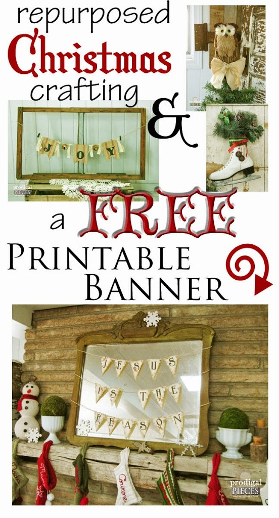 picture regarding Free Printable Christmas Crafts referred to as Repurposed Xmas Crafts Totally free Printable Banner