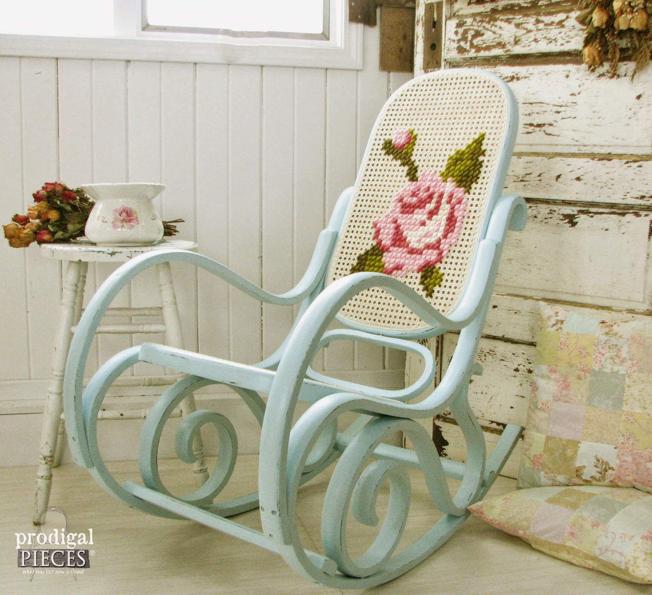 Antique Vintage Bentwood Rocking Chair Gets an Aqua Blue Facelift with Shabby Chic Crosstitch by Prodigal Pieces | prodigalpieces.com