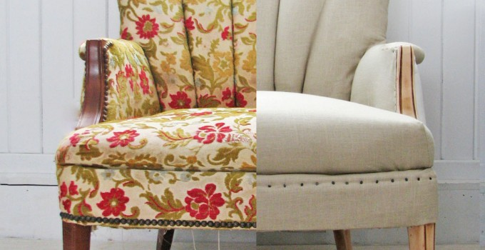 Linen Channel Back Chair {Themed Makeover}