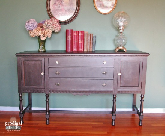 Antique Sideboard Scored for $15 Gets Metallic Makeover by Prodigal Pieces www.prodigalpieces.com #prodigalpieces