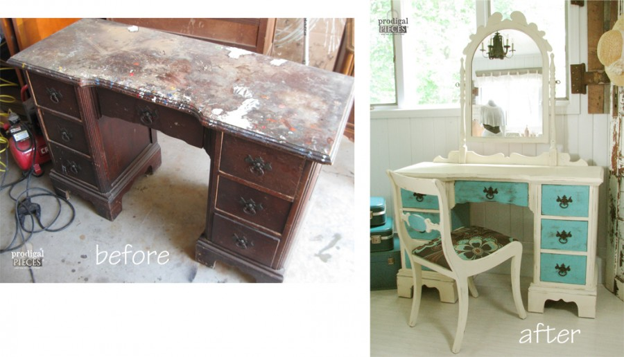 A Beat Up Vanity Gets a Gorgeous Makeover by Prodigal Pieces www.prodigalpieces.com #prodigalpieces