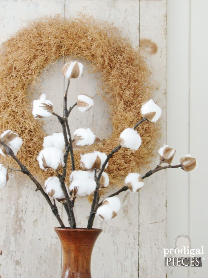 Vase of DIY Farmhouse Cotton Branches by Prodigal Pieces | prodigalpieces.com