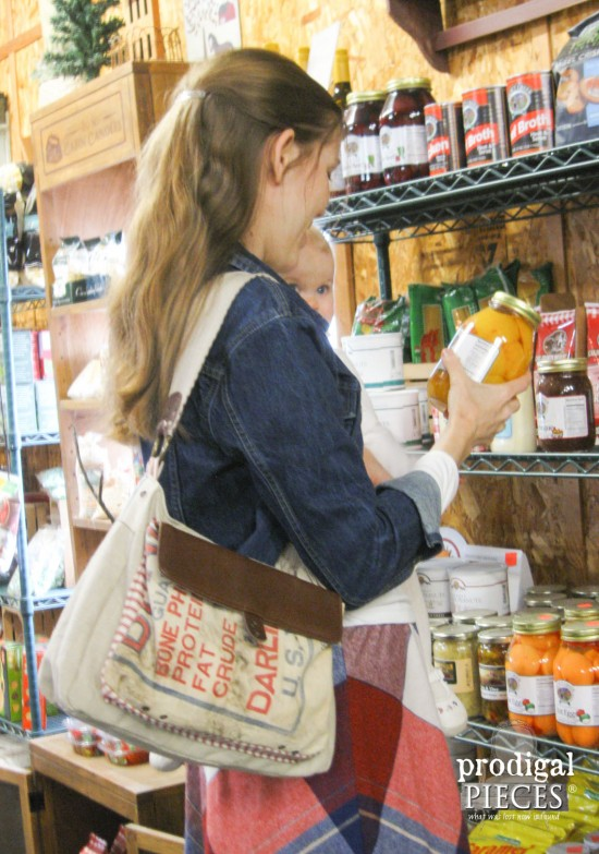 Mama and Babe in Country Store with Repurposed Feed Sack Purse by Prodigal Pieces | www.prodigalpieces.com