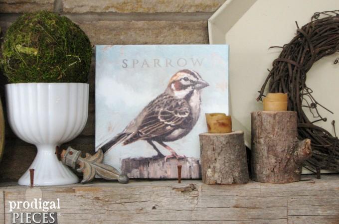 Sweet Farmhouse Sparrow Artwork by Darren Gygi + A Giveaway by Prodigal Pieces www.prodigalpieces.com #prodigalpieces