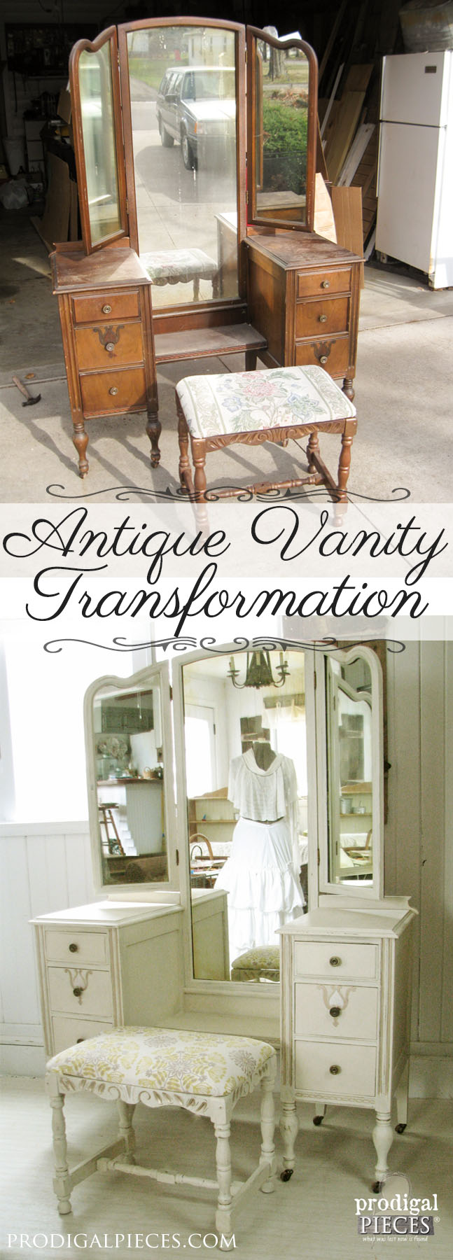 An Antique Trifold Vanity Transformation by Prodigal Pieces | prodigalpieces.com