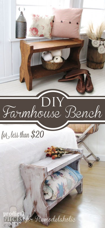 DIY Farmhouse Bench Tutorial using new or reclaimed wood by Prodigal Pieces www.prodigalpieces.com #prodigalpieces