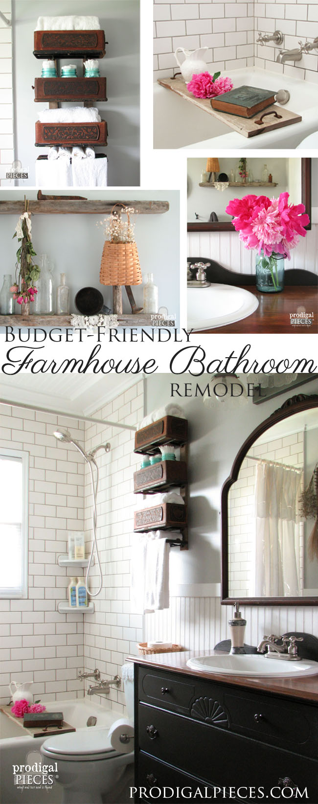 Budget-Friendly DIY Farmhouse Style Bathroom Makeover | Prodigal Pieces | www.prodigalpieces.com