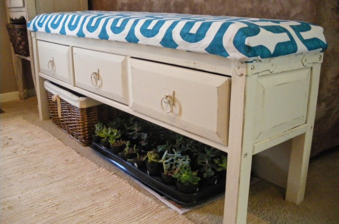Curbside Rescued Sofa Table is Repurposed into an Upholstered Bench by Reduce, Reuse, Renewed via Prodigal Pieces. www.prodigalpieces.com #prodigalpieces