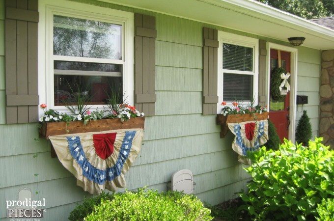 DIY Patriotic Fourth of July Bunting made from Thrifted Fabric - Celebrat Independance Day Thrifted Style by Prodigal Pieces www.prodigalpieces.com
