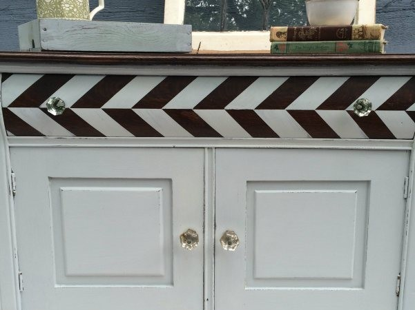 Worn out antique dresser gets new life with milk paint and chevron styling by Refresh Living via Prodigal Pieces www.prodigalpieces.com @prodigalpieces