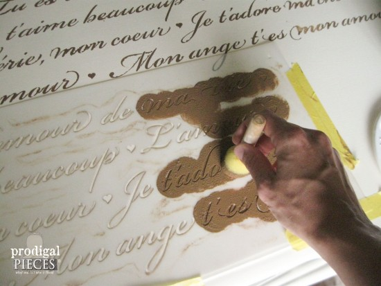 French Script Stenciling Antique Vanity | Prodigal Pieces | www.prodigalpieces.com