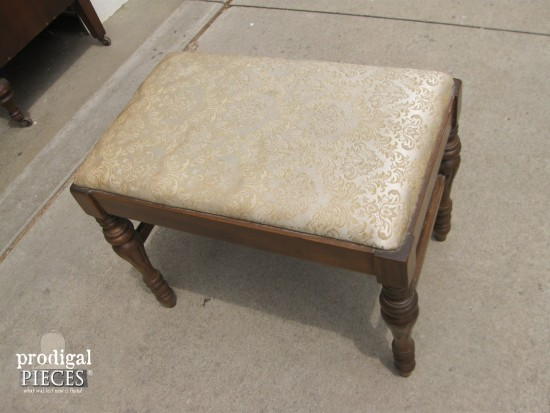 Antique Vanity Upholstered Bench | Prodigal Pieces | www.prodigalpieces.com
