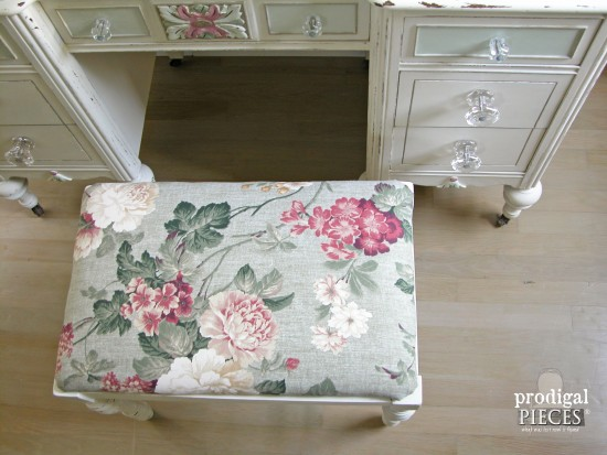French Style Rose Upholstered Bench | Prodigal Pieces | www.prodigalpieces.com