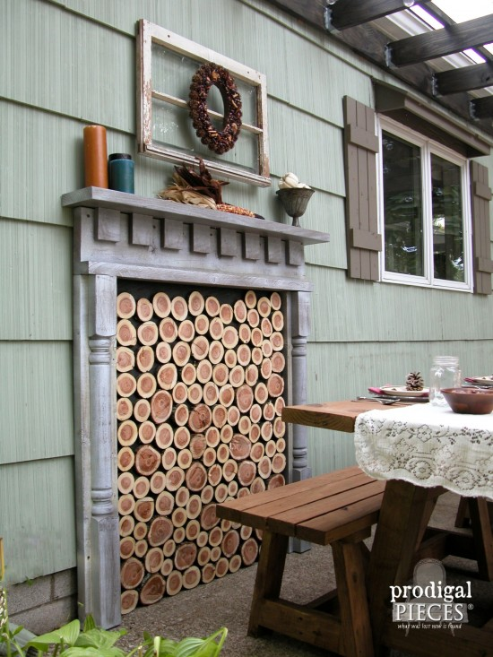 Diy faux fireplace indoor or outdoor prodigal pieces for Building an indoor fireplace