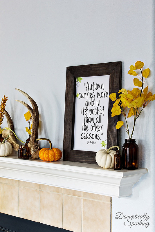 The Fall Ideas Tour Day One - Mantel Inspiration by Domestically Speaking via Prodigal Pieces.www.prodigalpieces.com #prodigalpieces