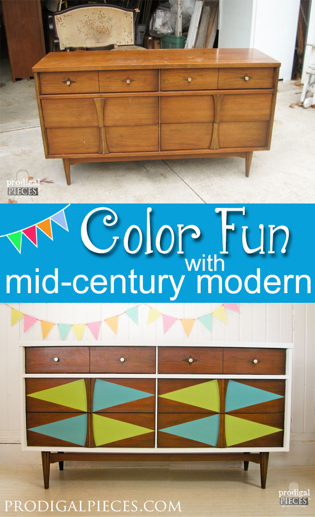 This tired looking Mid-Century Modern Bassett credenza gets some color fun with a pop of paint. Come see how it's done! by Prodigal Pieces www.prodigalpieces.com