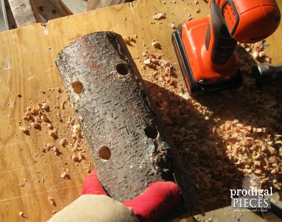 Create a rustic repurposed log reindeer in a few simple steps following this DIY tutorial by Prodigal Pieces www.prodigalpieces.com #prodigalpieces