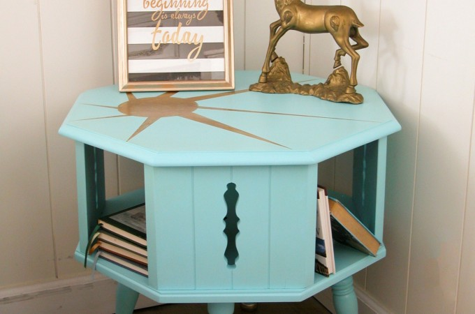 Adding a color and a gilded sunburst design to this worn out Mid-Century Modern table gives it new life by Prodigal Pieces www.prodigalpieces.com #prodigalpieces