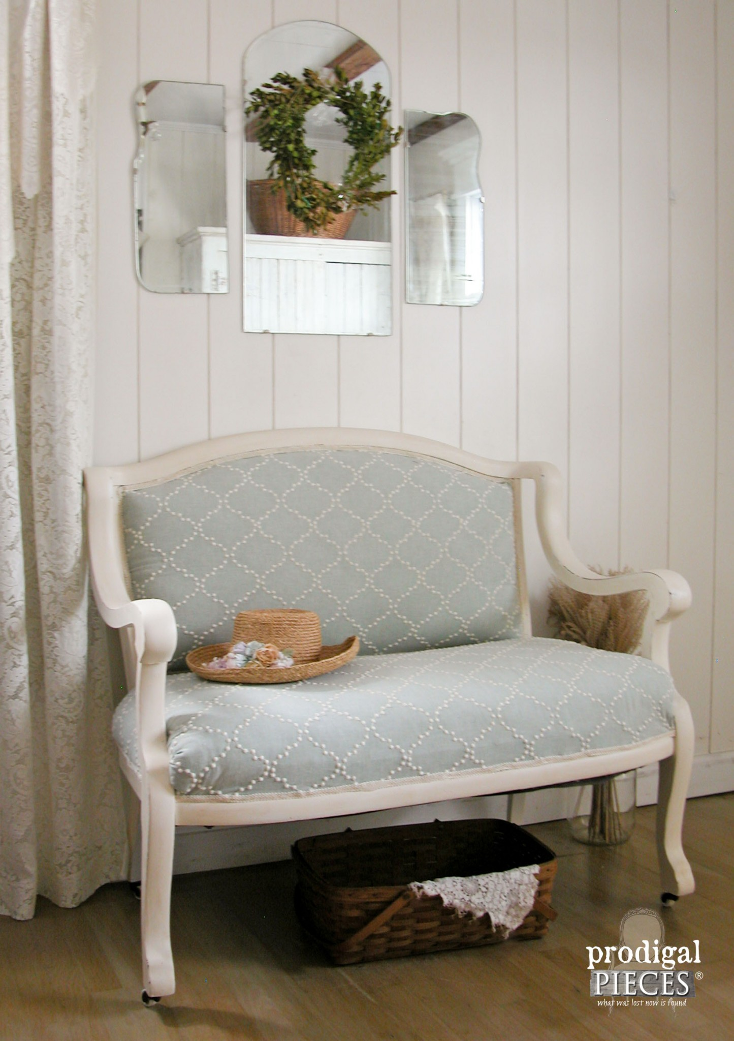 Upholstered Antique Settee | Prodigal Pieces | www.prodigalpieces.com