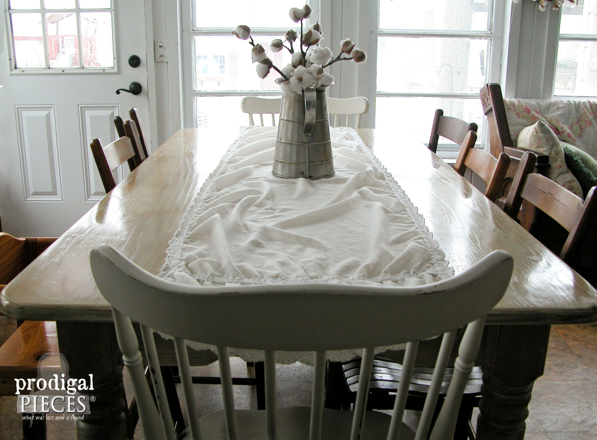 whitewashed limewashed wood whitewash kitchen table Farmhouse Table with Whitewash by Prodigal Pieces www prodigalpieces com