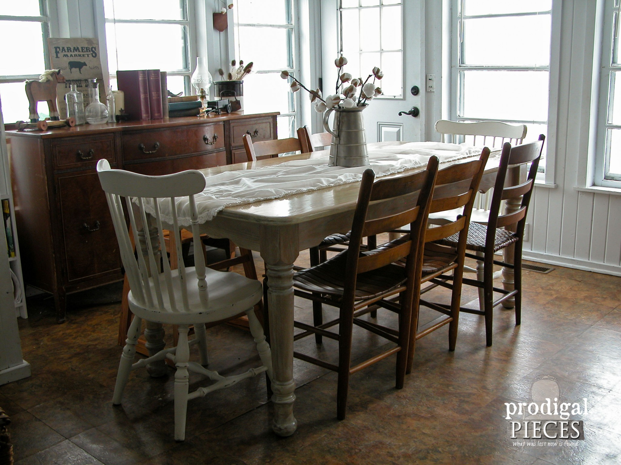 Whitewashed (or Limewashed) Farmhouse Table by Prodigal Pieces | www.prodigalpieces.com