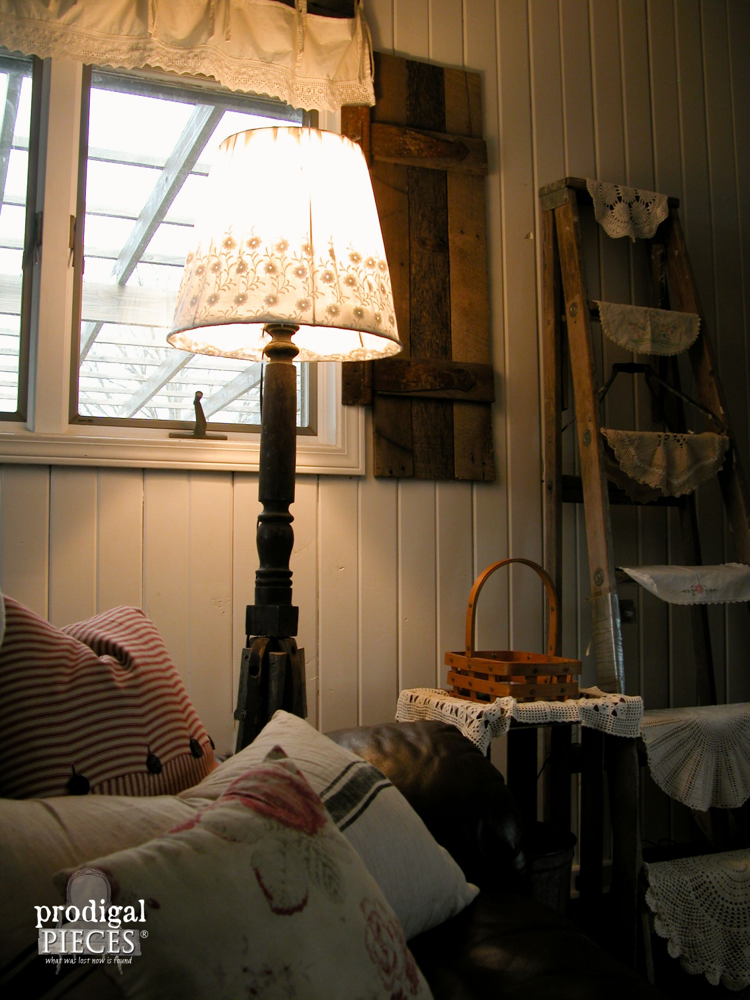 Repurposed Antique Rocker Lamp Lit | Prodigal Pieces | www.prodigalpieces.com
