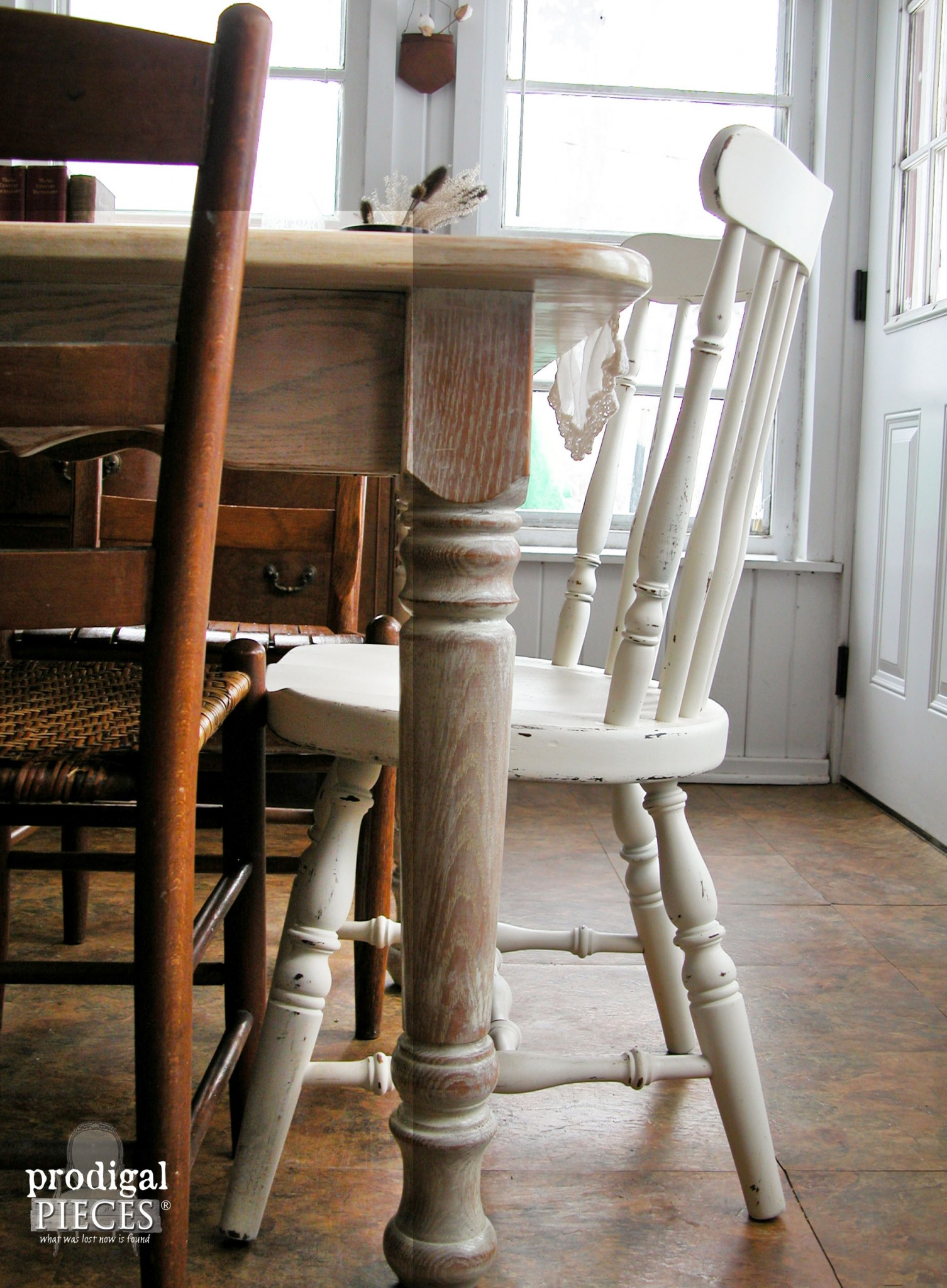 Whitewashed Farmhouse Table Leg by Prodigal Pieces | www.prodigalpieces.com