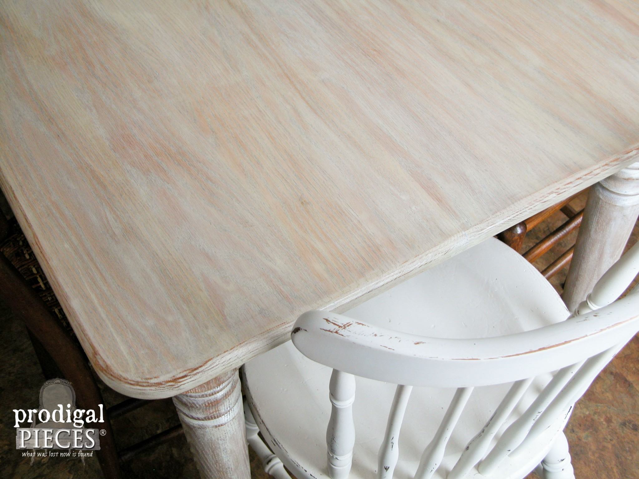 Limewashed (whitewashed) Farmhouse Table Top by Prodigal Pieces | www.prodigalpieces.com