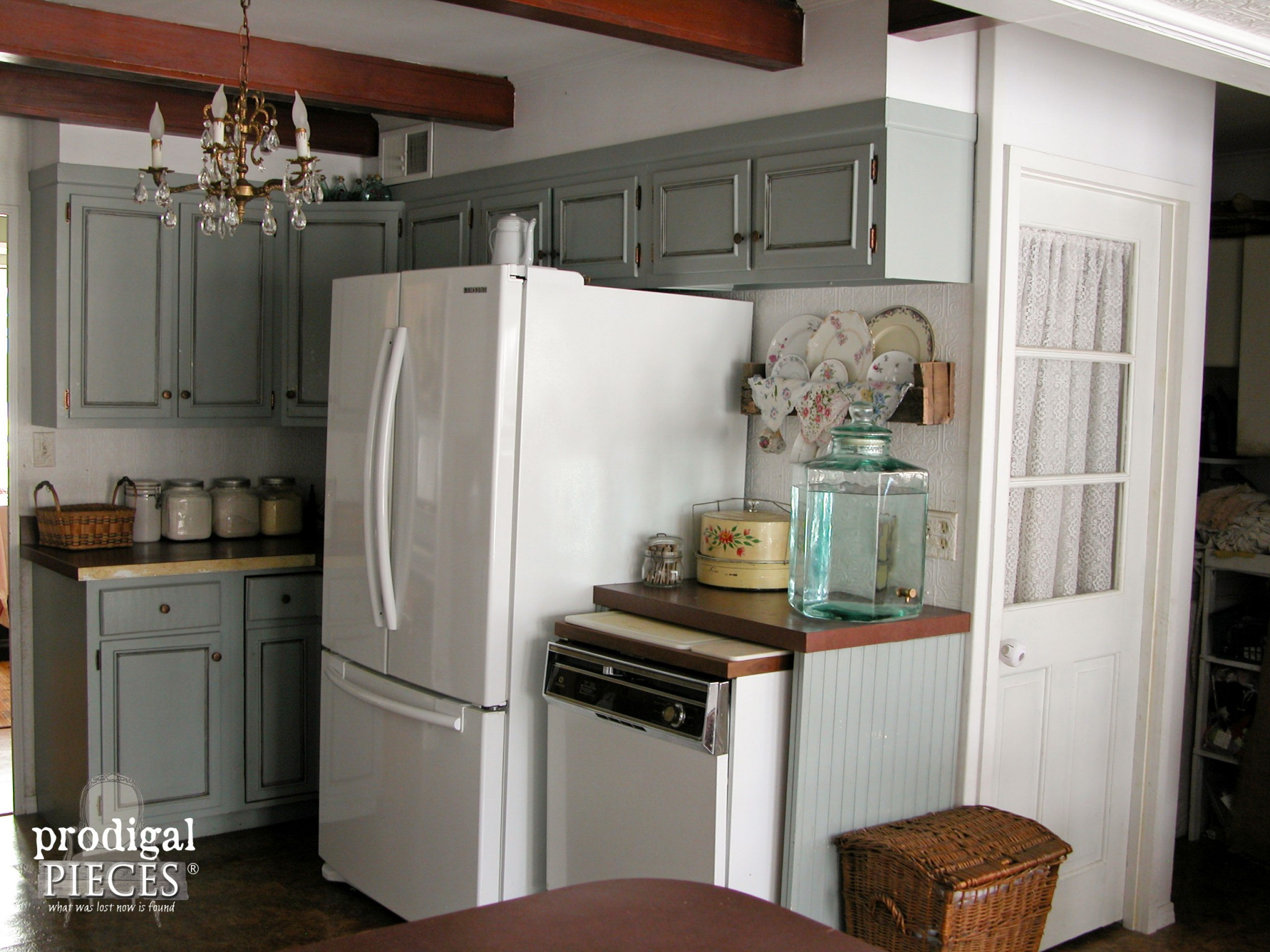 Blue Gray Cabinets in Kitchen Remodel by Prodigal Pieces | www.prodigalpieces.com