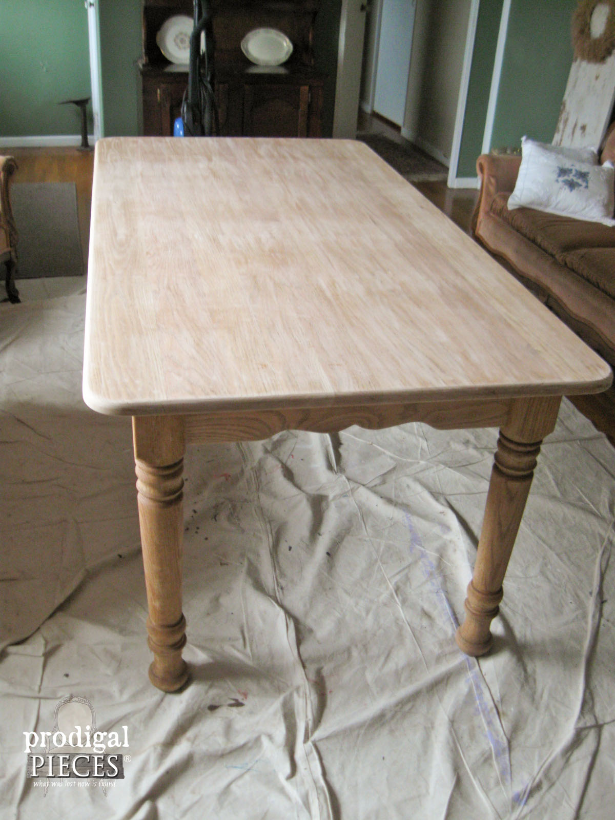 Farmhouse Table Sanded And Stripped For Whitewash | Prodigal Pieces |  Www.prodigalpieces.com