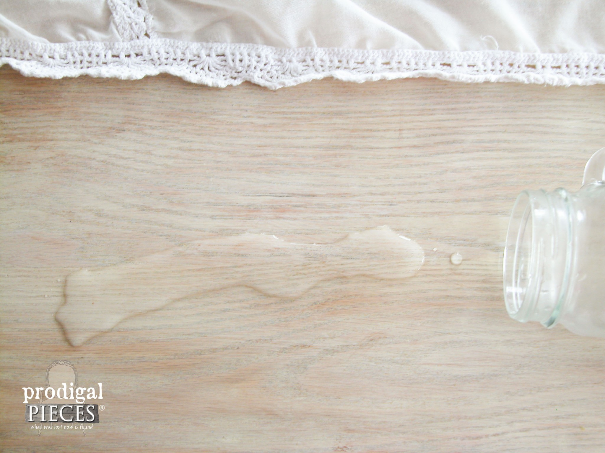 Water beading on Waterlox Farmhouse Table by Prodigal Pieces | www.prodigalpieces.com