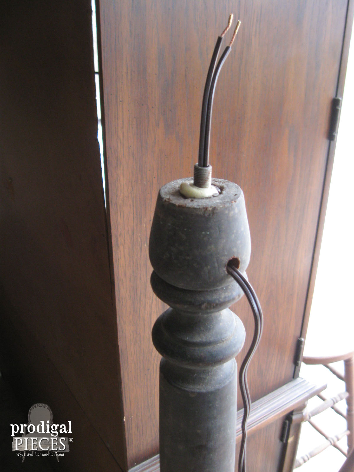 Adding Wiring to Repurposed Antique Rocker Leg Lamp | Prodigal Pieces | www.prodigalpieces.com