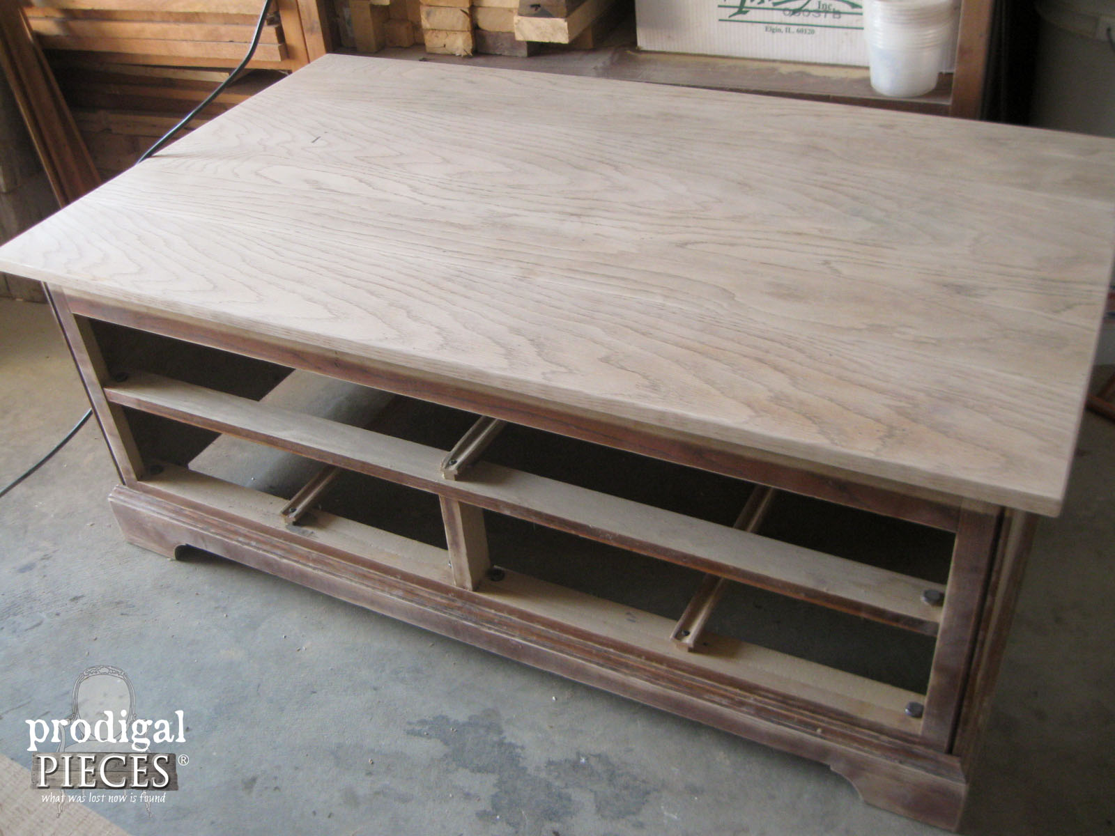 Sanded Coffee Table Ready for Beach Makeover by Prodigal Pieces | www.prodigalpieces.com