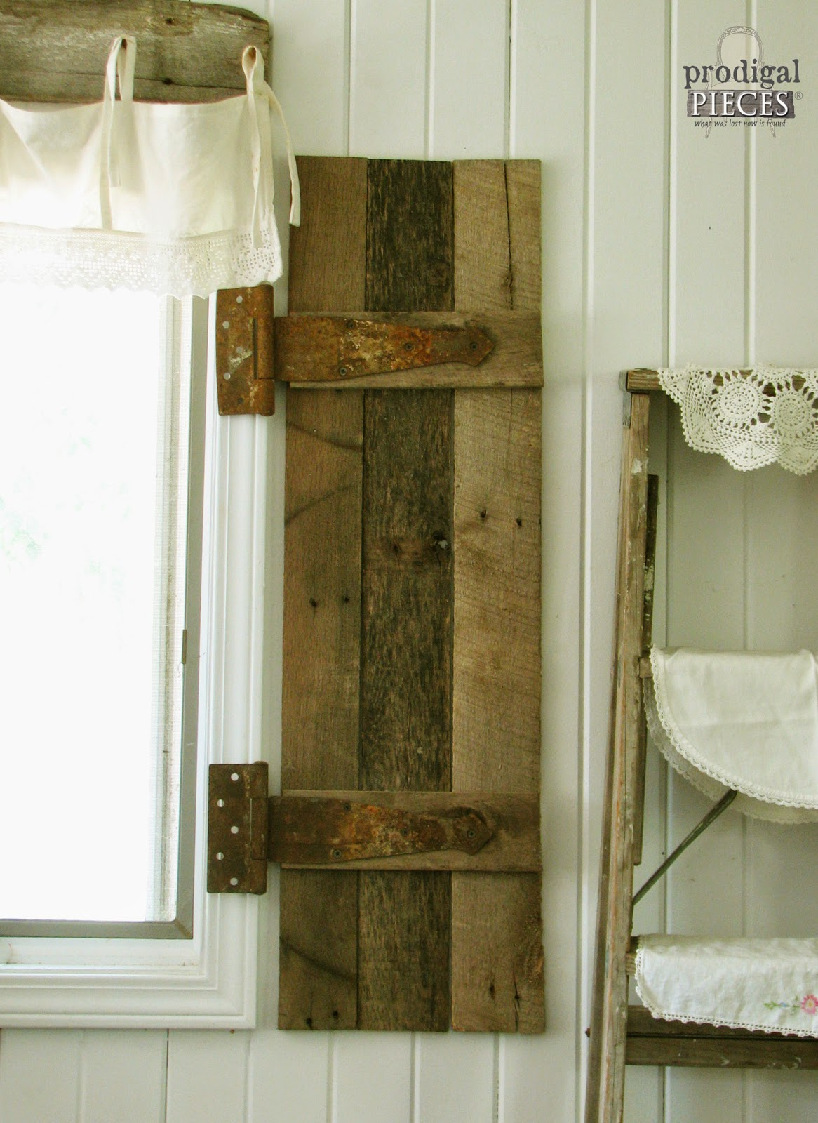 DIY Barn Wood Shutters from Repurposed Pallets by Prodigal Pieces http://www.prodigalpieces.com