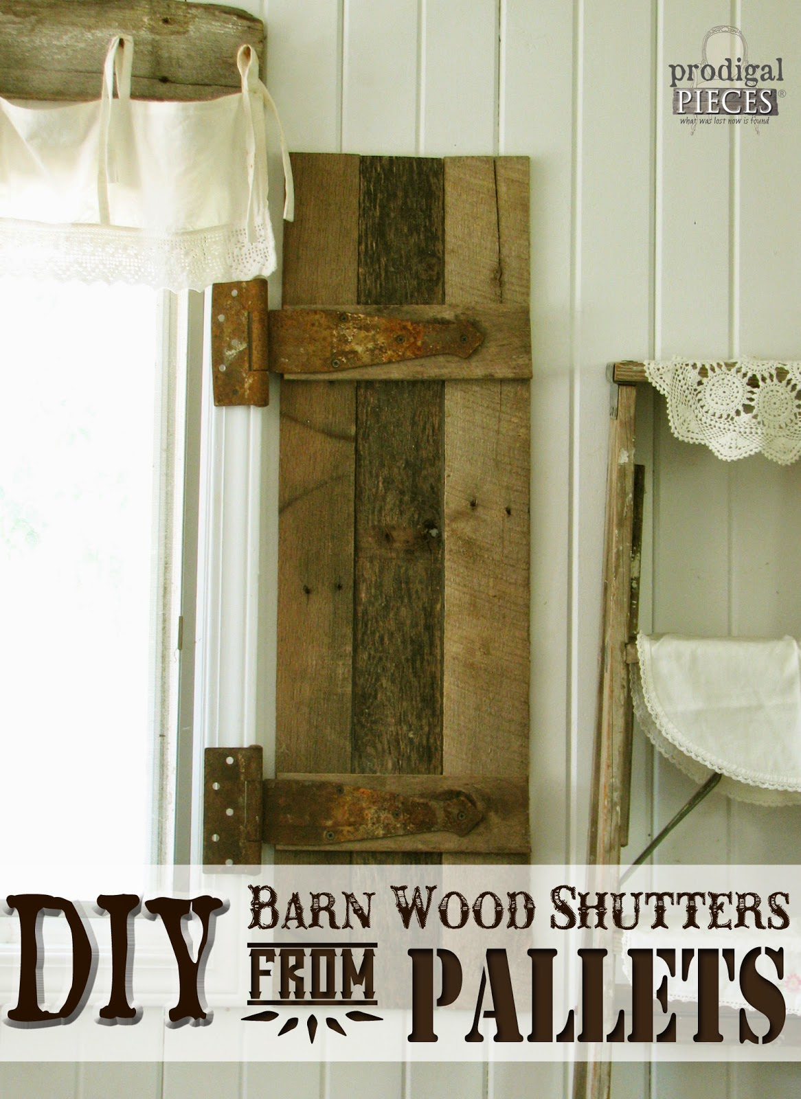 DIY Barn Wood Shutters from Pallets by Prodigal Pieces www.prodigalpieces.com #prodigalpieces