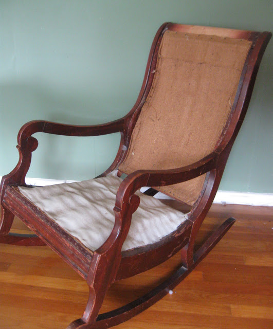 reupholster a rocking chair part 1 via Prodigal Pieces