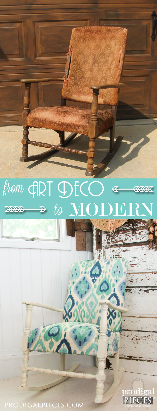 Worn out Art Deco rocking chair gets a modern Ikat facelift by Prodigal Pieces www.prodigalpieces.com #prodigalpieces