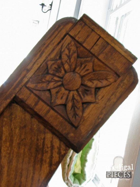 Hand Carved Details of Antique Pew | Prodigal Pieces | www.prodigalpieces.com