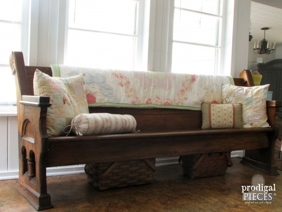 Gorgeous Antique Pew Restored with Linseed Oil | Prodigal Pieces | www.prodigalpieces.com