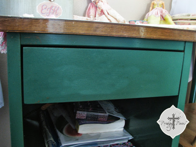 vintage green desk found junking via Prodigal Pieces