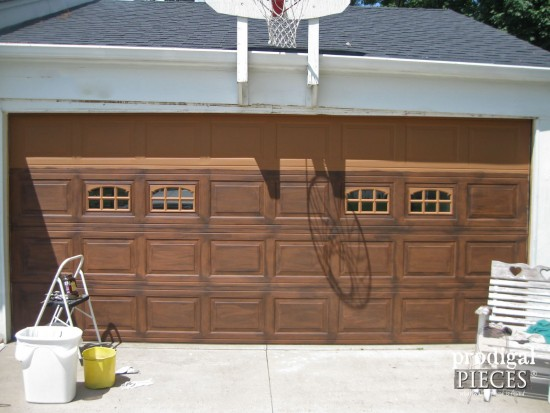 Faux wood garage door tutorial prodigal pieces for Faux wood garage door